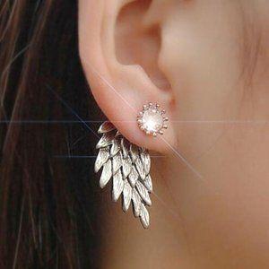 3/$20 Silver Angel Wing Earrings